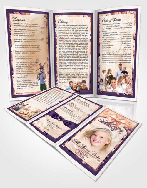 Obituary Template Trifold Brochure Lavender Sunrise Petals in the Wind