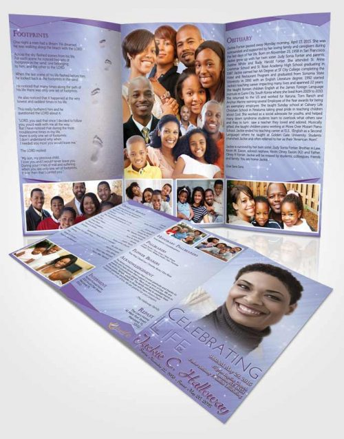 Obituary Template Trifold Brochure Lavender Sunrise Serenity