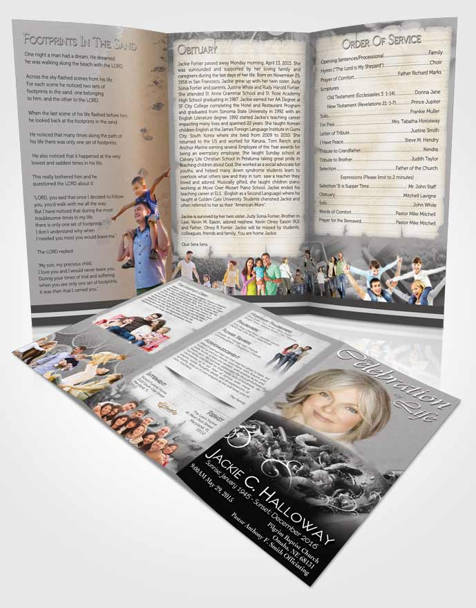 Obituary Template Trifold Brochure Love of Full Black and White Cooking