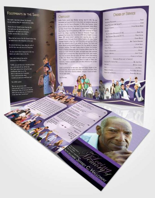 Obituary Template Trifold Brochure Majestic Lavender Rain Light