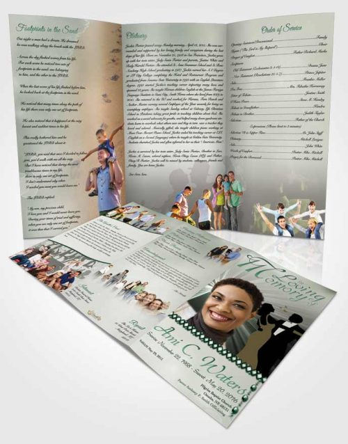 Obituary Template Trifold Brochure Midnight Dancing Emerald Love