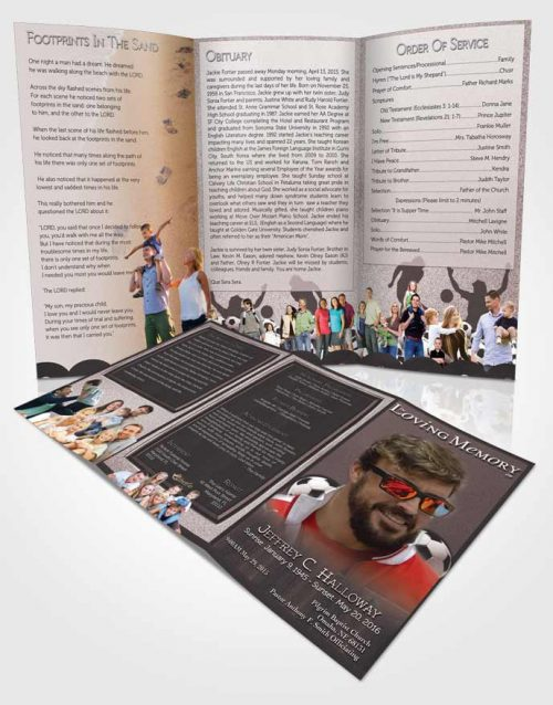 Obituary Template Trifold Brochure Morning Pearl Soccer Star