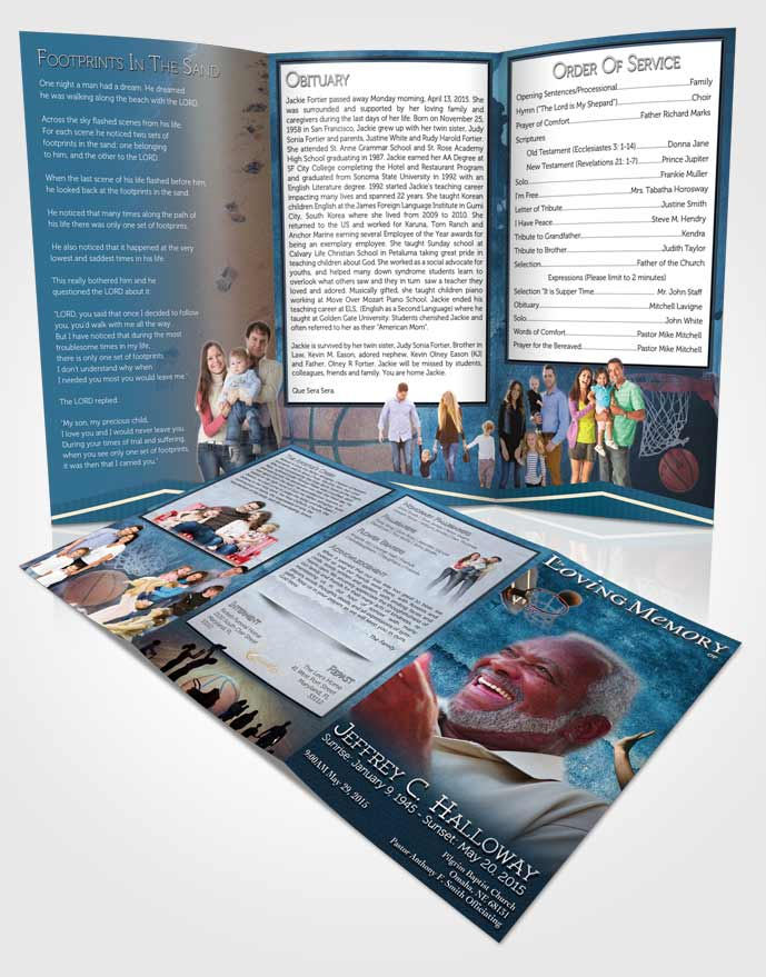 Obituary Template Trifold Brochure Ocean Blue Basketball Star