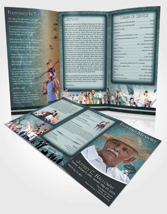 Obituary Template Trifold Brochure Ocean Doctor