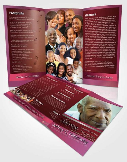 Obituary Template Trifold Brochure Pink Love Tranquility Dark