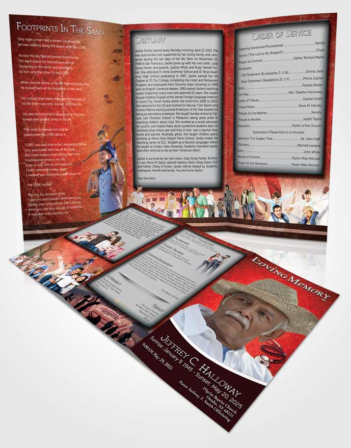 Obituary Template Trifold Brochure Ruby Doctor