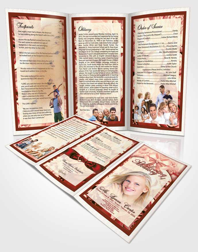Obituary Template Trifold Brochure Ruby Essence Petals in the Wind