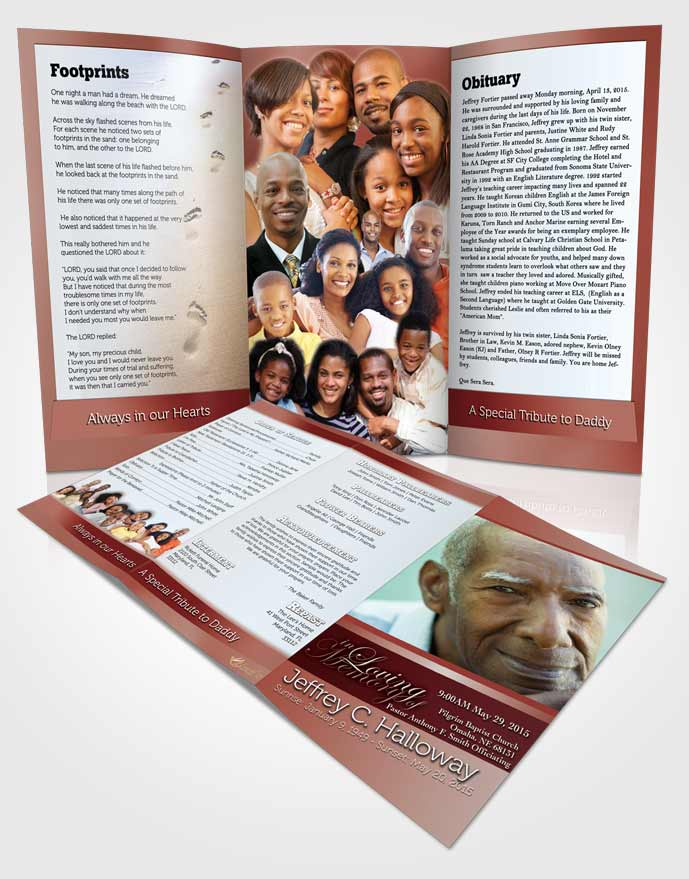Obituary Template Trifold Brochure Ruby Love Tranquility Light