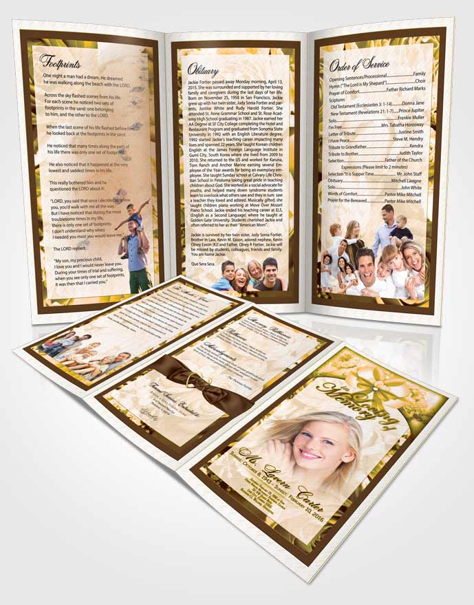 Obituary Template Trifold Brochure Rustic Loving Petals in the Wind