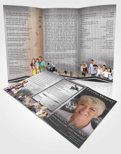 Obituary Template Trifold Brochure Black and White Shinning Clouds