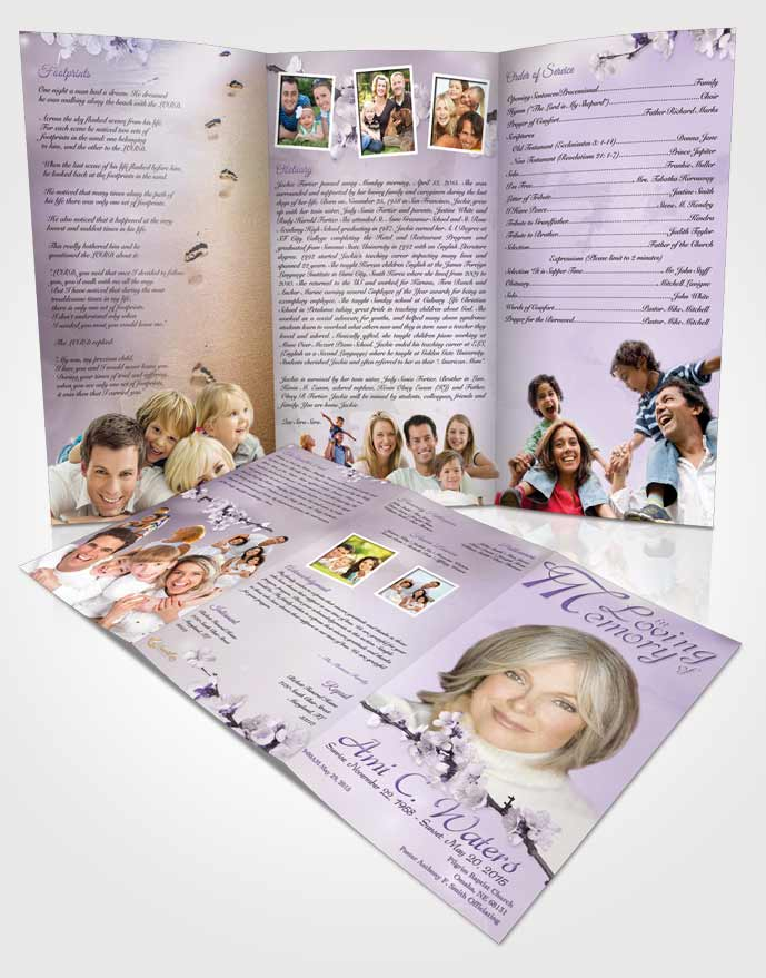 Obituary Template Trifold Brochure Simple Beauty Lavender Honor