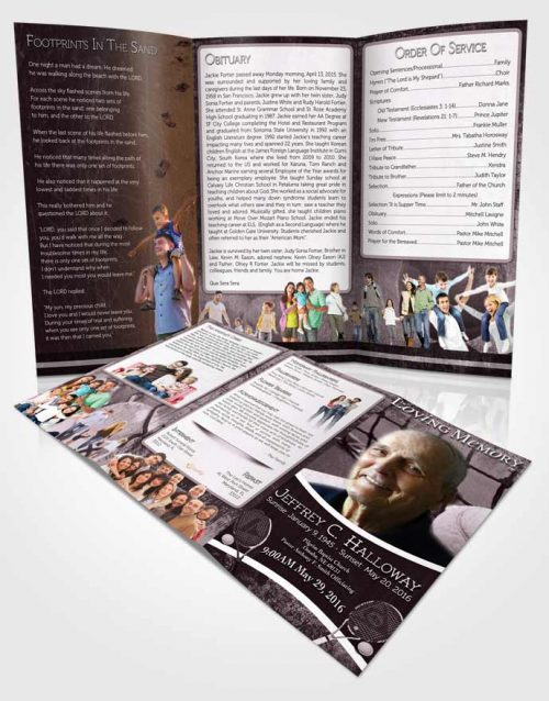 Obituary Template Trifold Brochure Soft Lavender Breeze Tennis Star