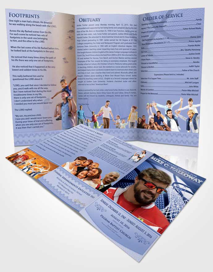 Obituary Template Trifold Brochure Special Moments Basketball Honor