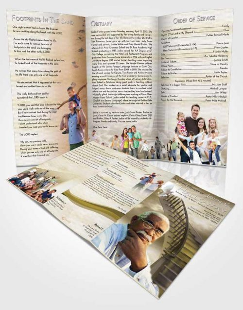 Obituary Template Trifold Brochure Stairway to Heaven Harmony