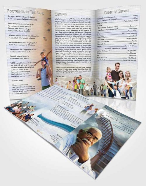 Obituary Template Trifold Brochure Stairway to Heaven Laughter