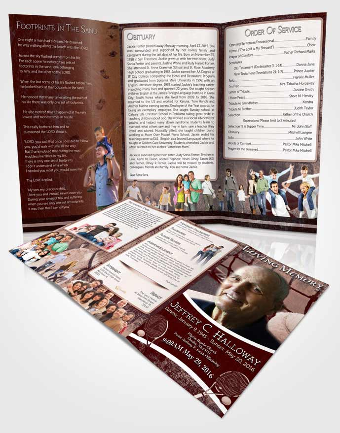 Obituary Template Trifold Brochure Strawberry Sky Tennis Star