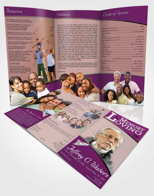 Obituary Template Trifold Brochure Summer Clarity