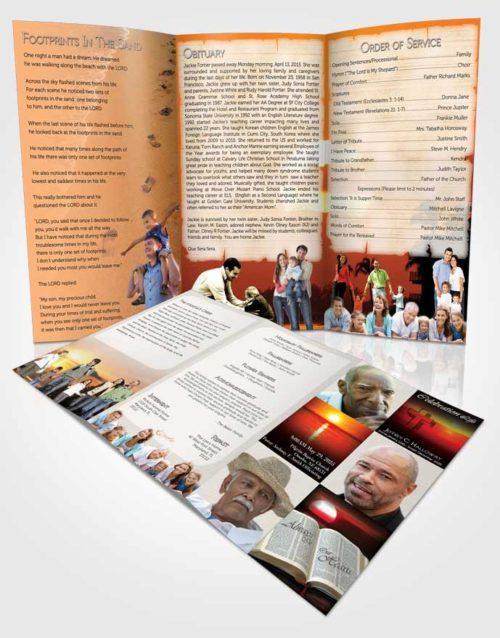 Bifold order of service obituary template brochure summer for Obituary pamphlet template