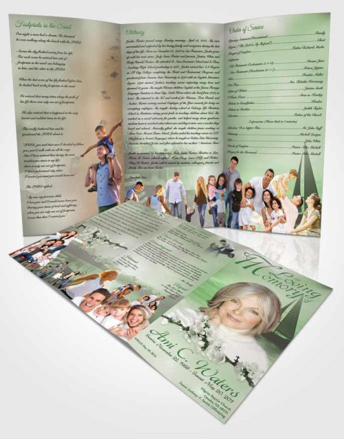 Obituary Template Trifold Brochure Sunrise Sailor Emerald Glow