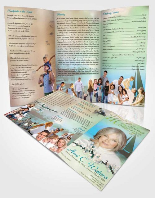 Obituary Template Trifold Brochure Sunrise Sailor Morning Calm