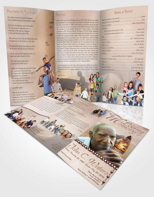 Obituary Template Trifold Brochure Surfers Paradise Golden Waves