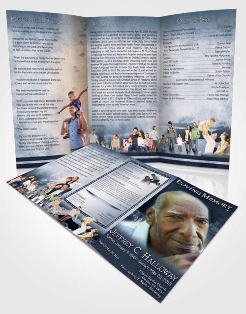 Obituary Template Trifold Brochure Topaz Summer Reflection