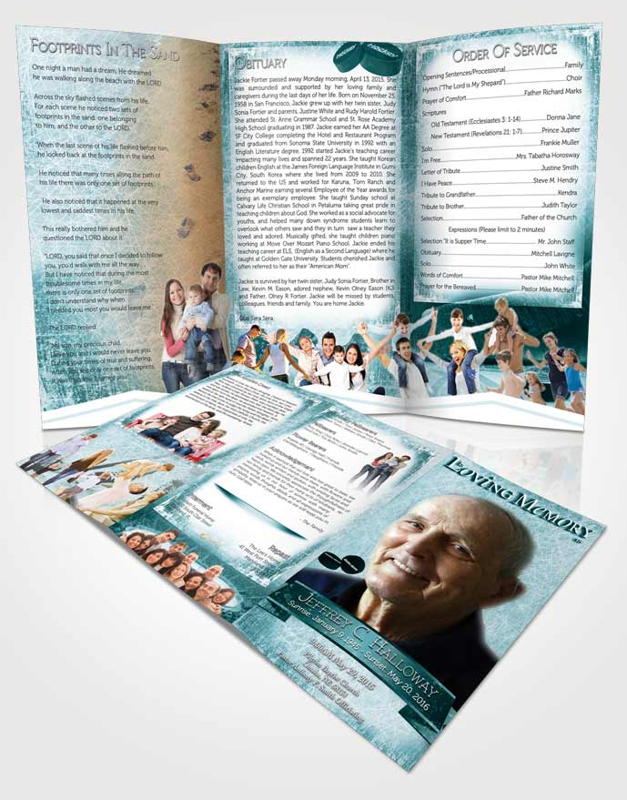 Obituary Template Trifold Brochure Turquoise Hockey Star