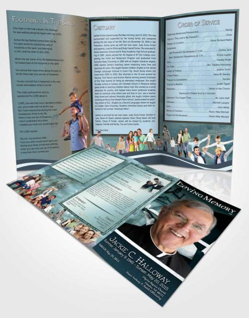 Obituary Template Trifold Brochure Turquoise Sky Heavenly Priest