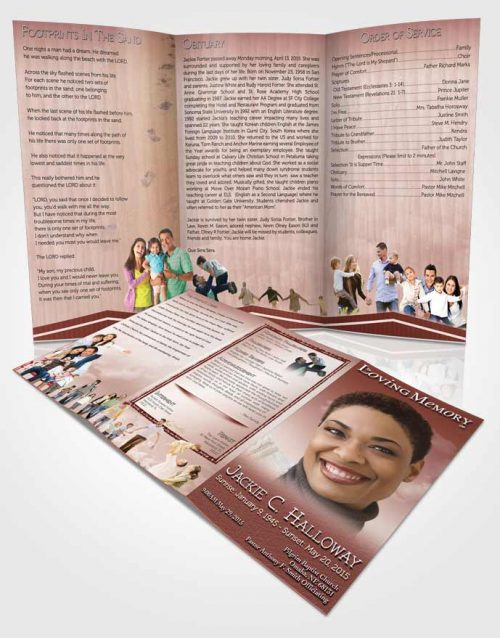 Obituary Template Trifold Brochure Up in the Strawberry Sky