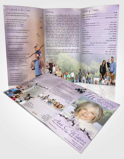 Obituary Template Trifold Brochure Waterfall Heaven Lavender Honor