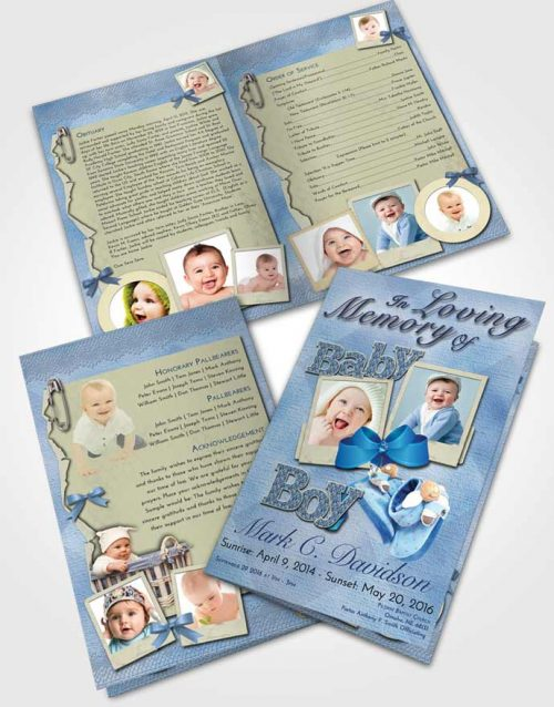 Bifold Order Of Service Obituary Template Brochure Early Morning Baby Boy