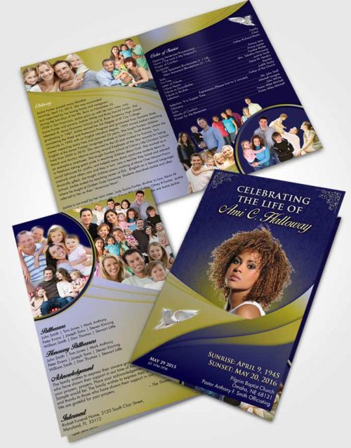 Bifold Order Of Service Obituary Template Brochure Evening Magnificence