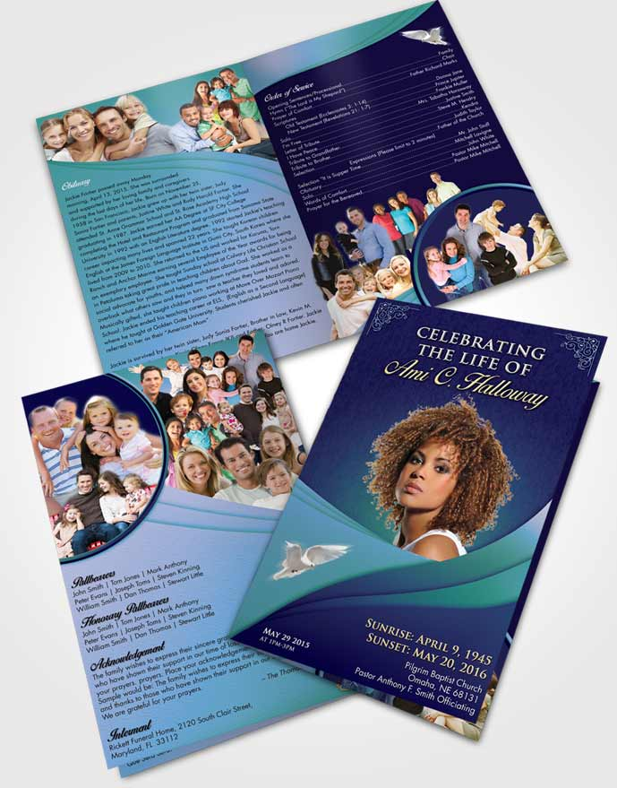 Bifold Order Of Service Obituary Template Brochure Oceans Magnificence