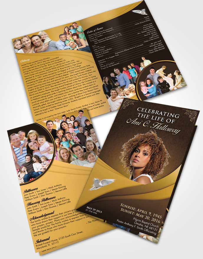 Bifold Order Of Service Obituary Template Brochure Summer Magnificence
