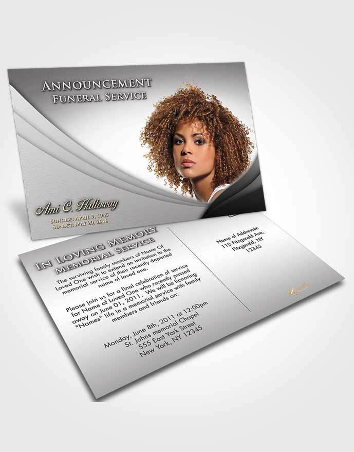 Funeral Announcement Card Template Black and White Magnificence