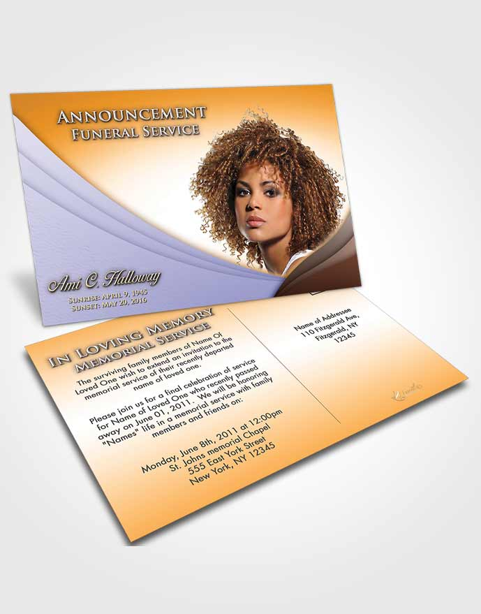 Funeral Announcement Card Template Devoted Magnificence