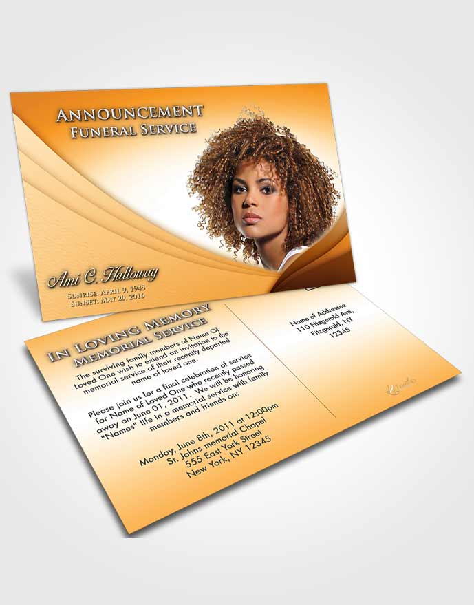 Funeral Announcement Card Template Golden Peach Magnificence