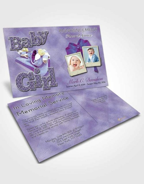 Funeral Announcement Card Template Lavender Beauty Baby Girl