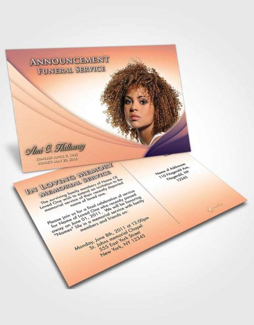 Funeral Announcement Card Template Lavender Sunset Magnificence