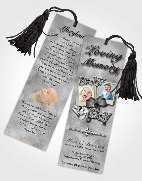Funeral Bookmark Template Black and White Baby Boy