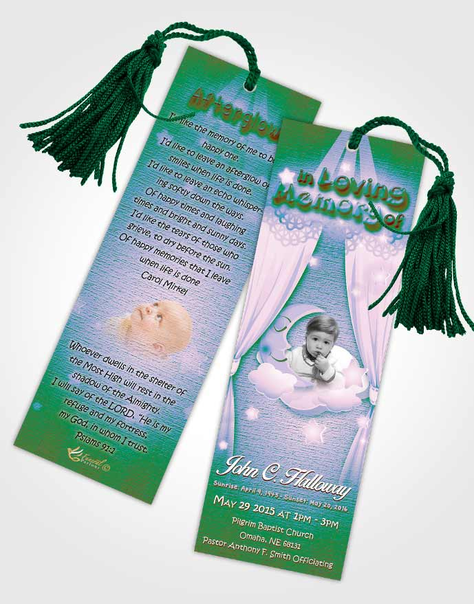 Funeral Bookmark Template Peaceful Childrens Innocence