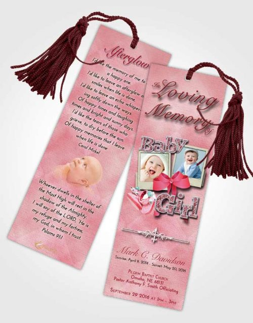 Funeral Bookmark Template Pink Love Baby Girl