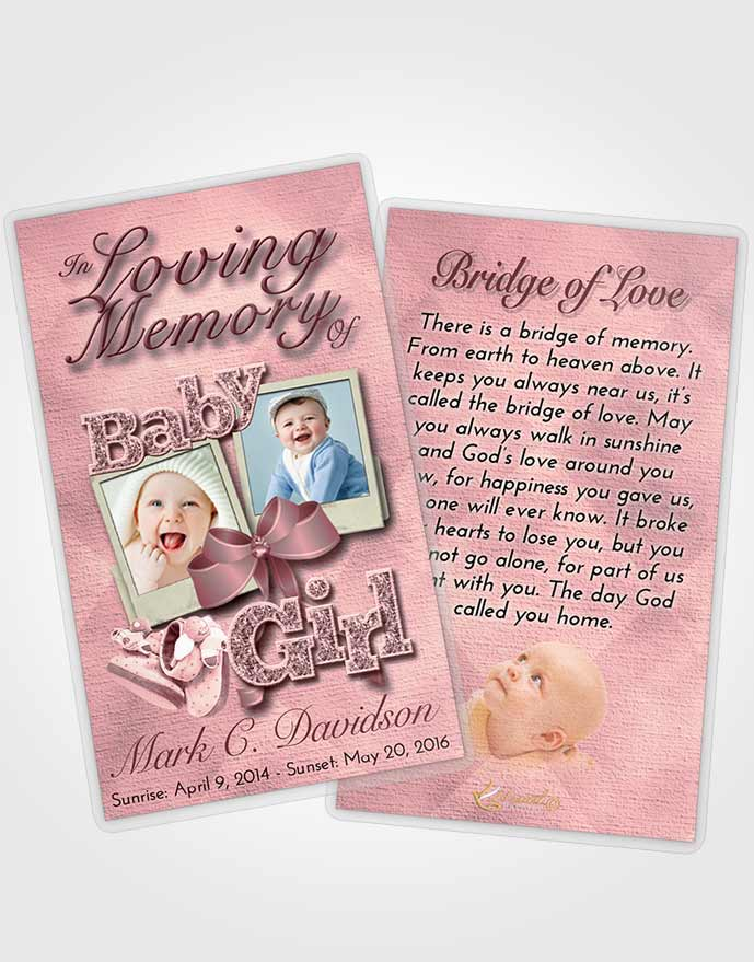 Funeral Prayer Card Template Pink Serenity Baby Girl