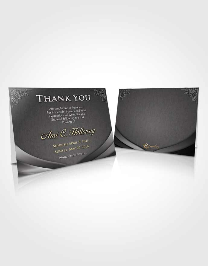 Funeral Thank You Card Template Black and White Magnificence