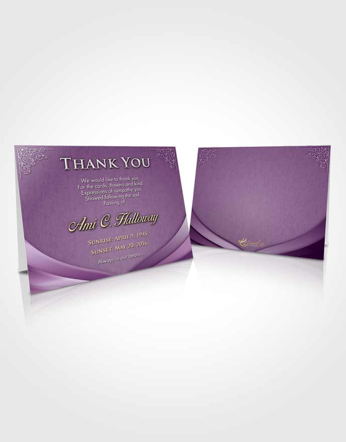 Funeral Thank You Card Template Lavender Sunrise Magnificence