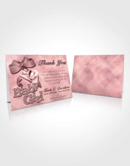 Funeral Thank You Card Template Pink Serenity Baby Girl