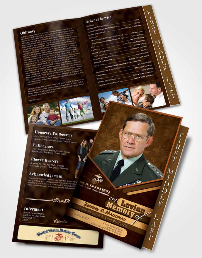 2 Page Graduated Step Fold Funeral Program Template Brochure 1st Marines The Few The Proud Love