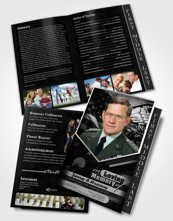 2 Page Graduated Step Fold Funeral Program Template Brochure 2nd Veterans Day Freedom