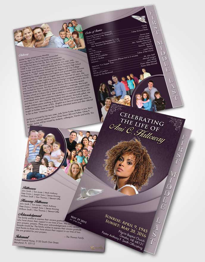 2 Page Graduated Step Fold Funeral Program Template Brochure Afternoon Magnificence