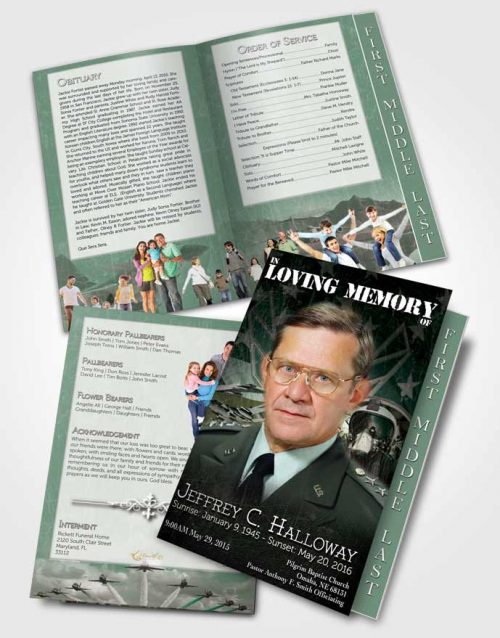 2 Page Graduated Step Fold Funeral Program Template Brochure Air Force Emerald Salute